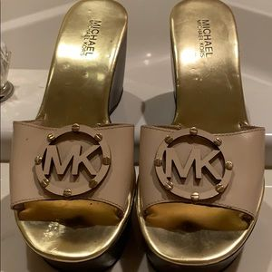 Michael Kors cream platform sandals